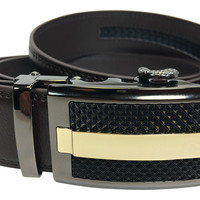 Men's Ratchet Fashion Genuine Leather Men Dress belt with No Holes in Brown
