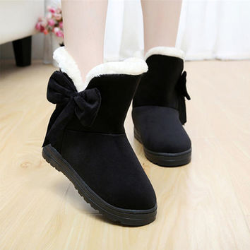 Snow boots with bow women fashion winter boot warm comfortable