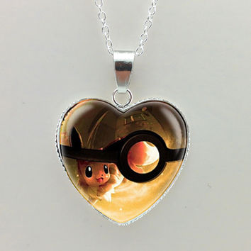 2015 New Glass Photo Pendant Neckalce Pokemon Necklace Pokemon Pendant Pokemon Jewelry Heart Shaped Necklace