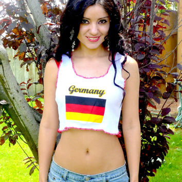 Germany White Ribbed Crop Top