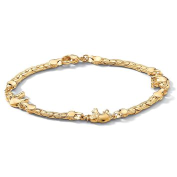 Elephant Ankle Bracelet in Yellow Gold Tone 10""
