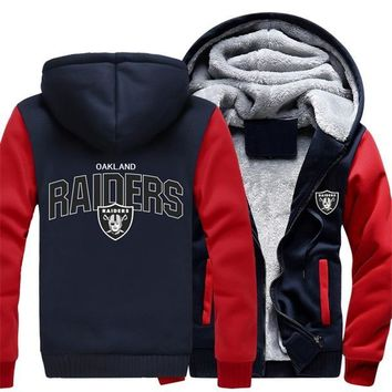 DropshipingFoot Ball Team Oakland Winter Autumn Men Women Hoodie Raiders Zipper Fleece Thicken Jacket Casual Sweatshirts