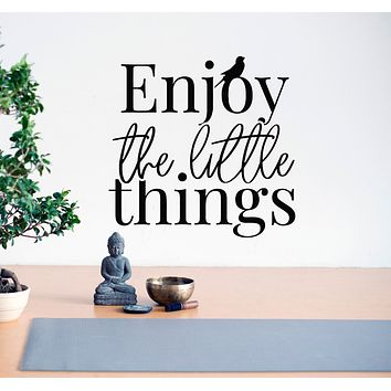 Vinyl Wall Decal Enjoy The Little Things Inspirational Quote Stickers Mural 22.5 in x 22 in gz143