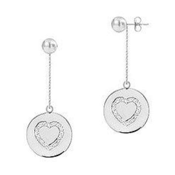 Diamond Heart Disc Earrings : 14K White Gold - 0.33 CT Diamonds