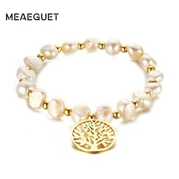 Meaeguet Irregular Freshwater Pearls Bracelet/ Wishing Tree Pattern