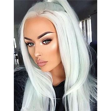 Mint Green Straight Long Synthetic Lace Front Wig