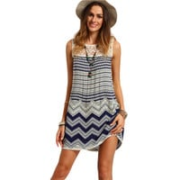 Boho Dresses Beach Women Striped Multicolor Sleeveless Print Lace Yoke Shift Loose Tank Boho Sexy Rayon Dress -0331