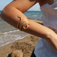 Single Snake Bracelet  ''Ófis'' - Handmade BRASS metal gold plated jewel- Gold Cuff Minimal Gold Bracelet