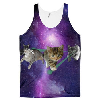 Fur Mob Cats In Space Kitten Universe Laser Beam Cat Dye Sublimation All Over Print 3D Full Print Cotton Polyester Unisex Novelty Purple & Beige Tank Top
