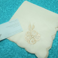 Vintage Ivory linen Handkerchief Hanky with an embroidered design in one corner by MarlenesAttic