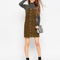 ASOS Cord Button Front Dungaree Dress With Raw Hem In Olive Green
