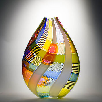 Osri Vase in Orange by Jeffrey Pan: Art Glass Vase - Artful Home
