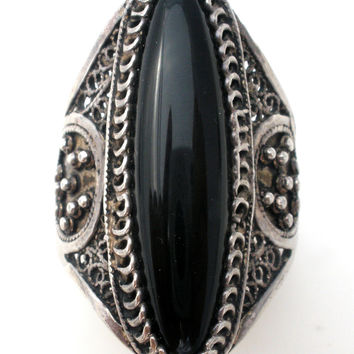 Wide Black Onyx Sterling Silver Ring Size 9.5 Vintage