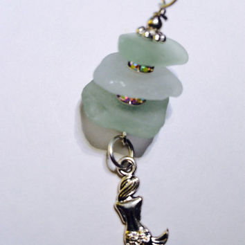 Mermaid drop Aqua Texas Sea Glass Charm Drop Necklace  Crafted Mermaid tears, sea glass pendant, beach glass jewelry, texas sea glass