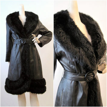 60s 70s Coat Vintage Leather Princess Fur Trimmed by voguevintage