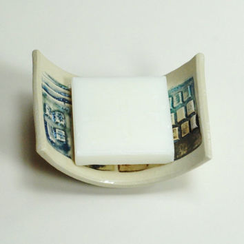 Urban soap dish,house dish,houses dish,stoneware dish,clay houses dish,pottery soap dish,clay spoon rest,