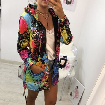 Womens Tie dyeing Print Coat Outwear Sweatshirt Jacket Overcoat