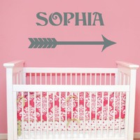 Name Wall Decal Arrow Vinyl Lettering Decal Sticker Custom Decals Personalized Name Decor Bedroom Nursery Baby Room Decor Girl Boy Art ZX33