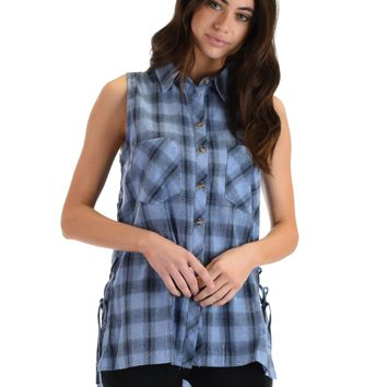 SL4491 Blue Sleeveless Plaid Shirt With Lace-Up Sides