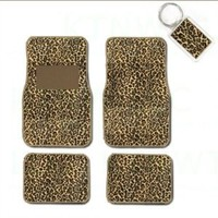 A Set of 4 Universal Fit Animal Print Carpet Floor Mats for Cars / Truck and 1 Key Fob - Cheetah Tan