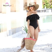 New Women's Swimming Suit Cute Off Shoulder Swimwear Black One Piece Swimsuit Bathing Suits Ruffle Retro