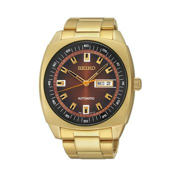 Seiko Men's Gold-Tone Stainless Steel Automatic Watch - SNKM98 (Yellow)