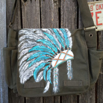 Hand Painted Chief Headdress Sage Canvas Laptop Messenger Bag, Cross Body, Shoulder Bag,Tech Bag,Large Work Bag, Travel Bag, Boho Bag,Tribal