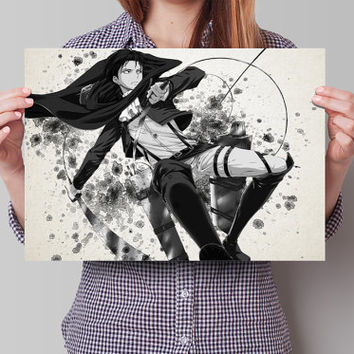 Levi Rivailee Attack on Titan Eren Anime Manga Watercolor Poster Print Art Wall Decor Gift  no291