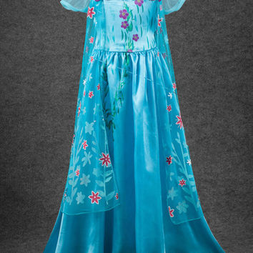 Frozen Fever Anna Party Dress With Cape Girls Halloween Costume