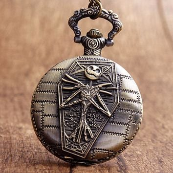 Antique Bronze Jake Nightmare Before Christmas Skeleton Quartz Pocket Watch Halloween Xmas Relogio Men Boys Watches Gift