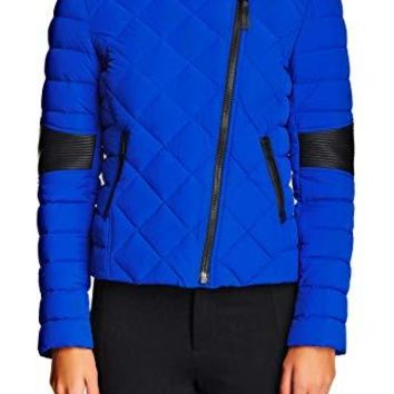 Mackage BNWT Zelie Womens XS Puffer Down Cobalt Blue Black Jacket Retail $450