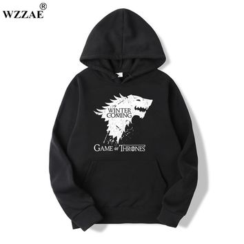 WZZAE 2018 New Game of Thrones Direwolf Men Hoodies And Sweatshirts Winter is Coming Cotton Hooded Top Quality Plus Size M-XXXL