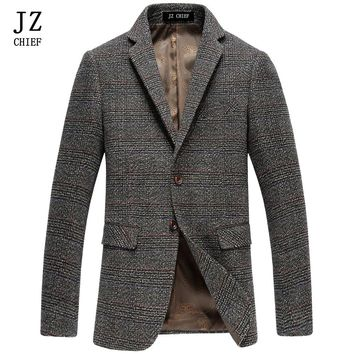 JZ CHIEF Tailored Two Button Jacket Coat Male Pinstripe