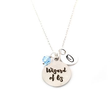 Wizard of Oz Charm Necklace - Swarovski Birthstone - Initial Personalized - Sterling Silver Necklace - Gift for Her