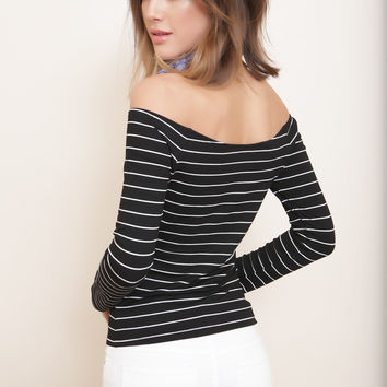 Sonny Black and White Striped Off Shoulder Top