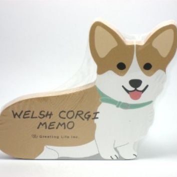 "Welsh Corgi Dog Die-cut Memo Pad 4.75""x4""x0.4"" 90 Sheets 5 Designs Inside"