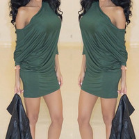 Green One Shoulder Mini Bodycon Dress