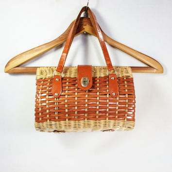 Vintage Woven Plastic Wicker Handbag Crown Colony of Hong Kong