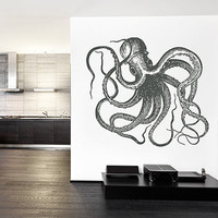 kik1204 Wall Decal Sticker octopus marine animals living room bathroom