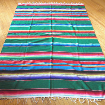Vintage Mexican Rainbow Throw Blanket, Sarape / Saltillo