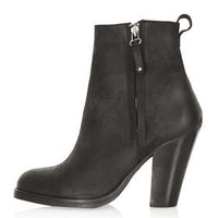 ANGEL Leather Heeled Boots - Black