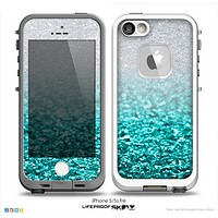The Tiffany Blue & Silver Glimmer Fade Skin for the iPhone 5-5s frē LifeProof Case