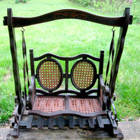 Wood and Rattan Doll Swing Glider Small Vintage Double Seat Home Decor