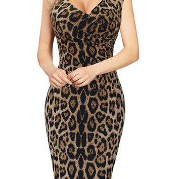 A| Chicloth Women's Dress Spring and Summer Sleeveless Leopard Print