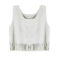 Grey Fringed Suedette Vest not available