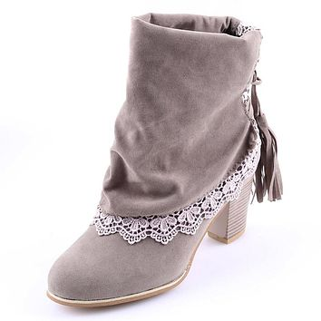 Women Fashion Winter Boots Sued Leather Round Toe Ankle Boots Lace High Heels Tassel Shoes
