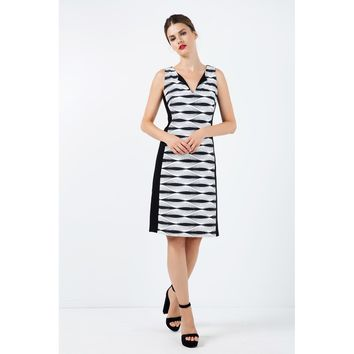 Black And White V-Neck Sleeveless A-line Dress