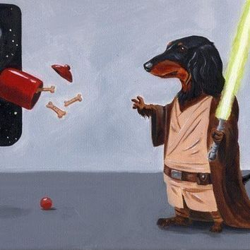 Dachshund dog art print Jedi 11 x 14 by rubenacker on Etsy