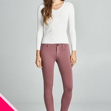 Ladies Plus Size 5-Pockets Skinny Pants