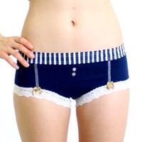 FOXERS - Navy Boyshort Navy Stripe